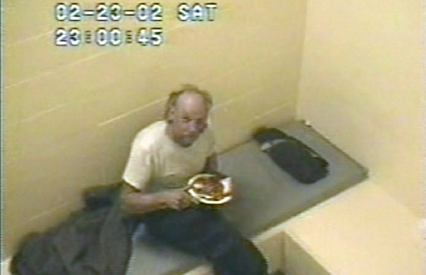 Robert Pickton waiting in his cell between interrogations