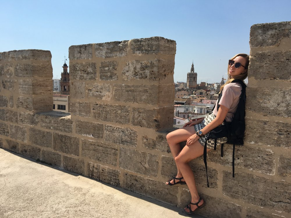 """Me - trying to be """"go with the flow"""" - at the top of Tower de Serranos"""