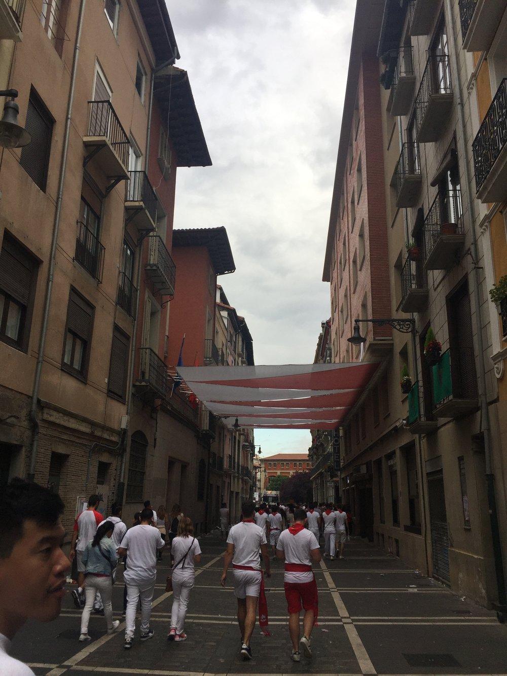 Gloomy and trashed Pamplona streets