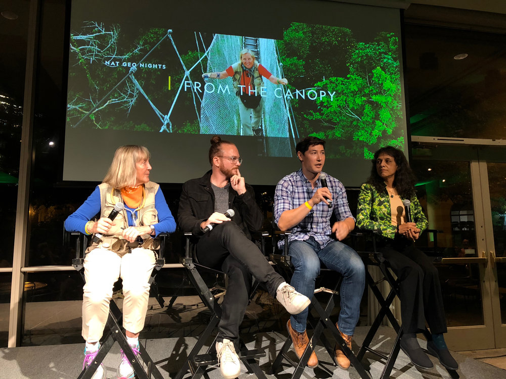 "#NatGeoNights: ""From the Canopy"" panel discussion with fellow National Geographic Explorers (L to R): Meg Lowman, Peter Houlihan, Kevin McLean, Nalini Nadkarni  Photo by Wesley Della Volla"