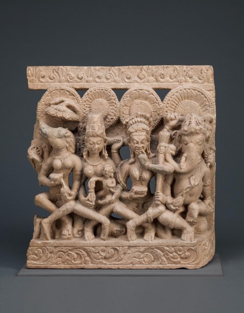 Three of the Seven Mother Goddesses and God Ganesha , 800s–900s, India, Denver Art Museum, 1964.24