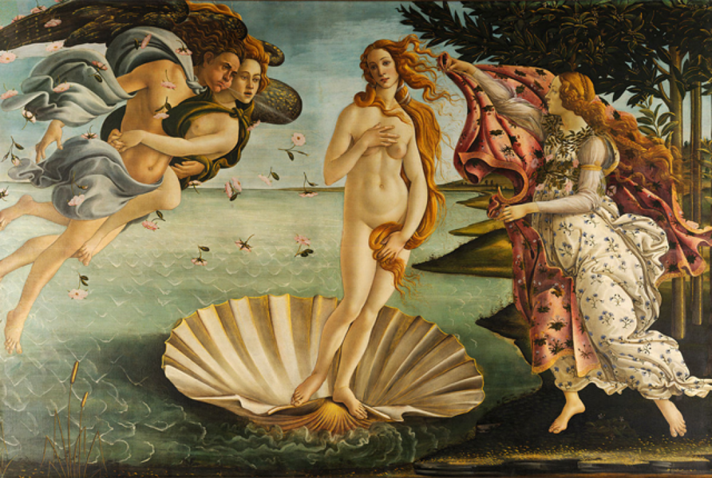 The Birth of Venus , Sandro Botticelli, 1480, Uffizi Gellery