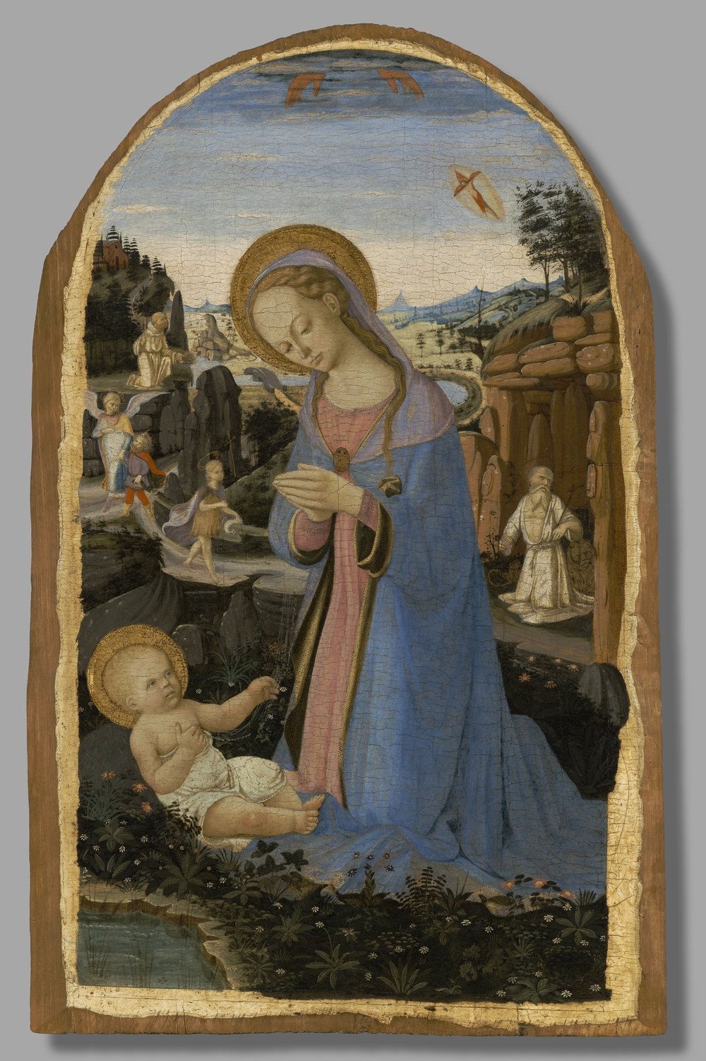 The Adoration of the Christ Child with Saint Francis of Assisi Receiving the Stigmata; Tobias and the Angel; Saint John the Baptist in the Wilderness; and the Penitent Saint Jerome,  Andrea del Verrocchio and Biagio d'Antonio ,  Italian, ca. 1465–70.