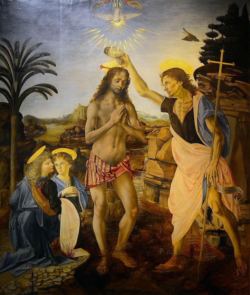 The Baptism of Christ , Andrea del Verrocchio and Leonardo da Vinci, 1472–75, Uffizi Gallery