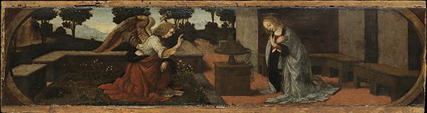 The Annunciation , Leonardo da Vinci and Lorenzo di Credi, 1475–79, Musée du Louvre, Paris