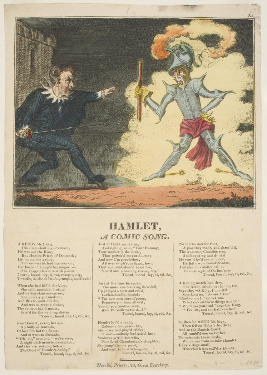 George Cruikshank,  Hamlet, A Comic Song.  British, 19th Century, Published by R. Harrild.