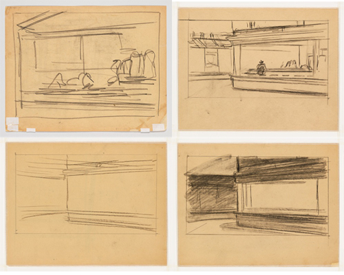 Edward Hopper, Studies for  Nighthawks , 1941 or 1942, fabricated chalk on paper. Whitney Museum of American Art.