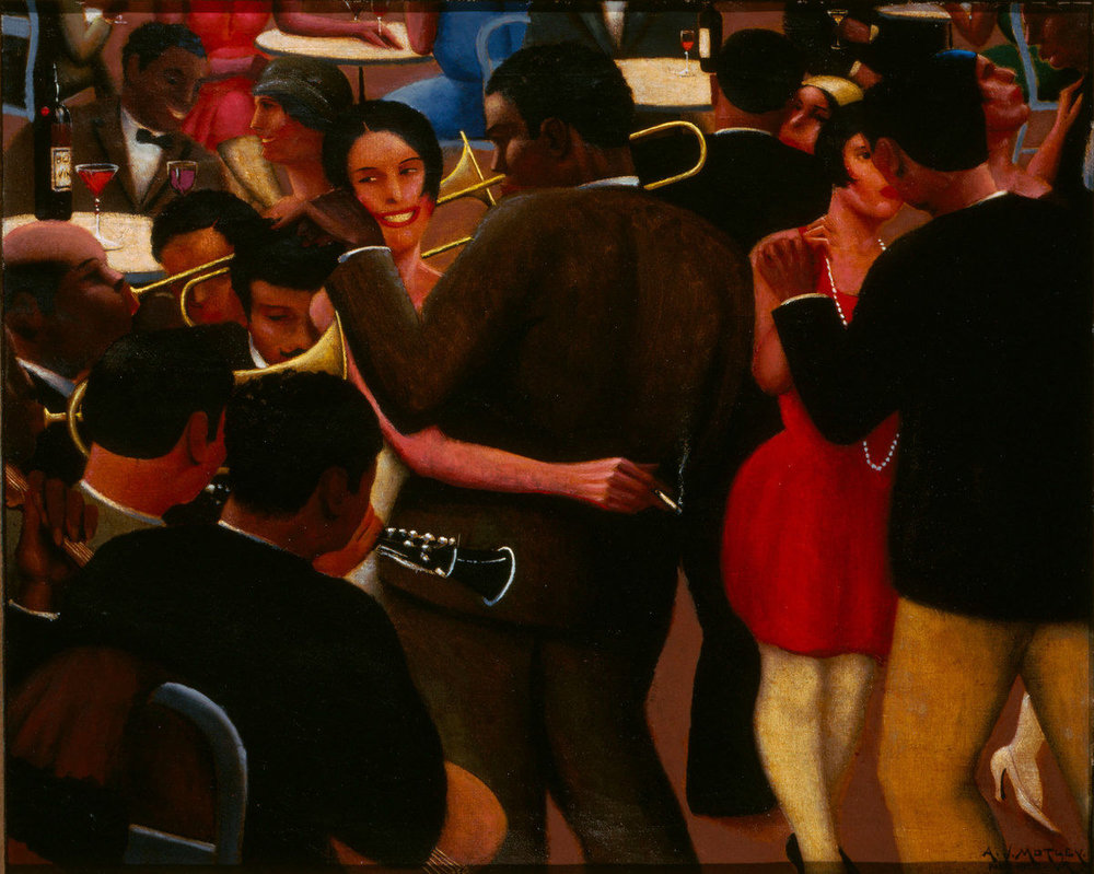 Blues,  Archibald Motley Jr., 1929, Art Institute Chicago.