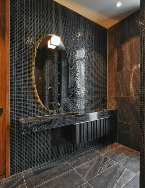 Bathroom backlight - Rich tones and magnificent mosaic tile walls feature in the bathroom spaces.