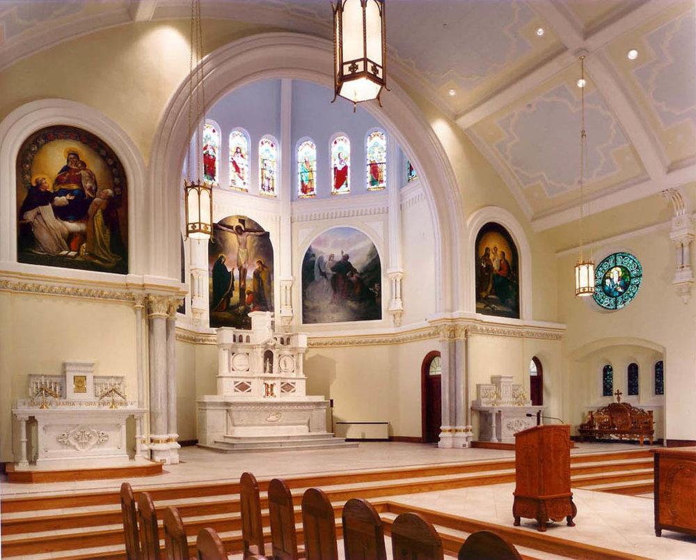 Sacred Heart Oratory, Wilmington, DE. New Color Scheme Selection, Marbling,  Gilding