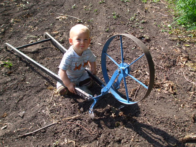 Eli, James and Jenny's middle son, getting an early start with the wheelhoe.
