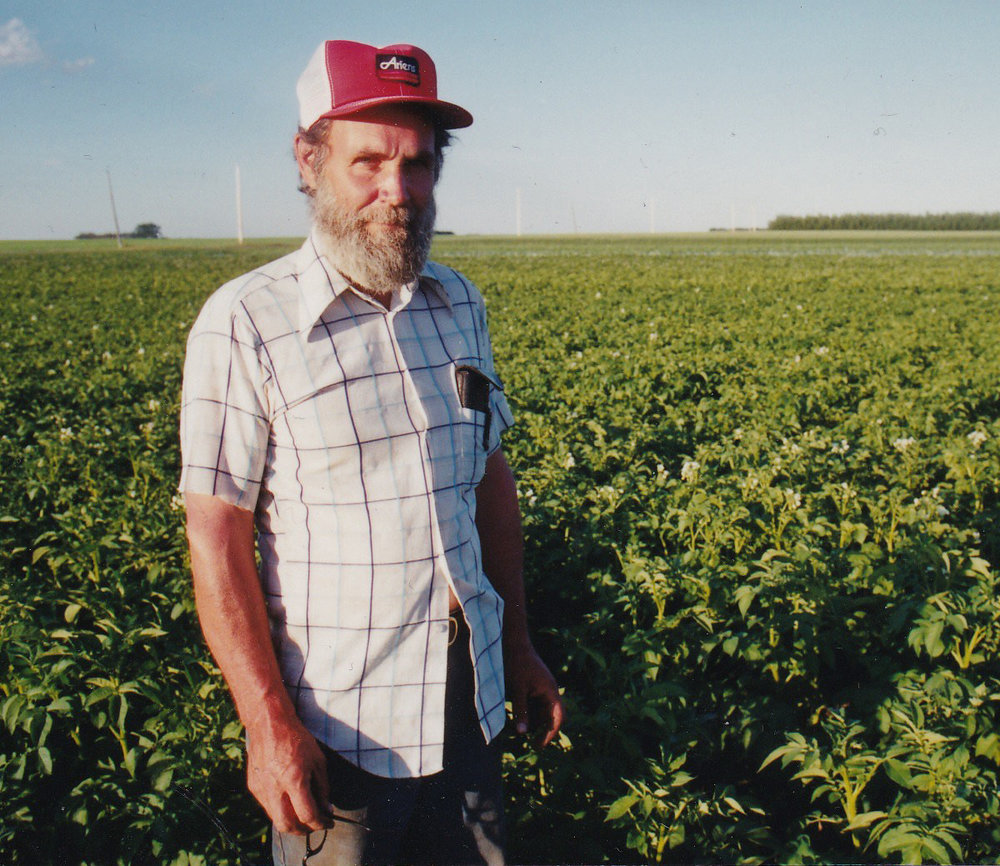 Dennis Vriend (James's dad) in a field of Vriend Organic Farm's potoatoes...Dennis was a passionate advocate for organic agriculture.