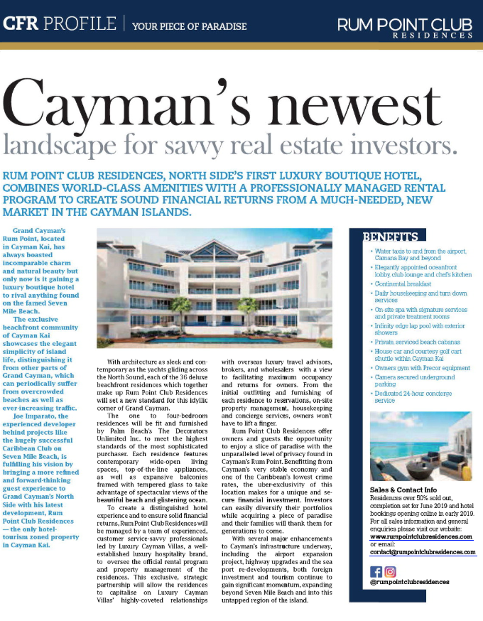 CAYMAN FINANCIAL REVIEW - Read why Rum Point is Cayman's newest landscape for savvy real estate investors (page 31).