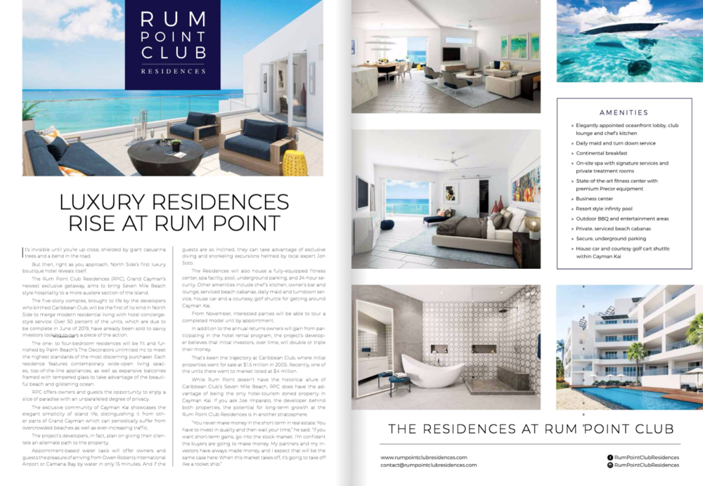 GRAND CAYMAN MAGAZINE - Features Rum Point Club Residences in its November 2018 issue. For full download click on the button below and head to e-pages 122-123 for article.