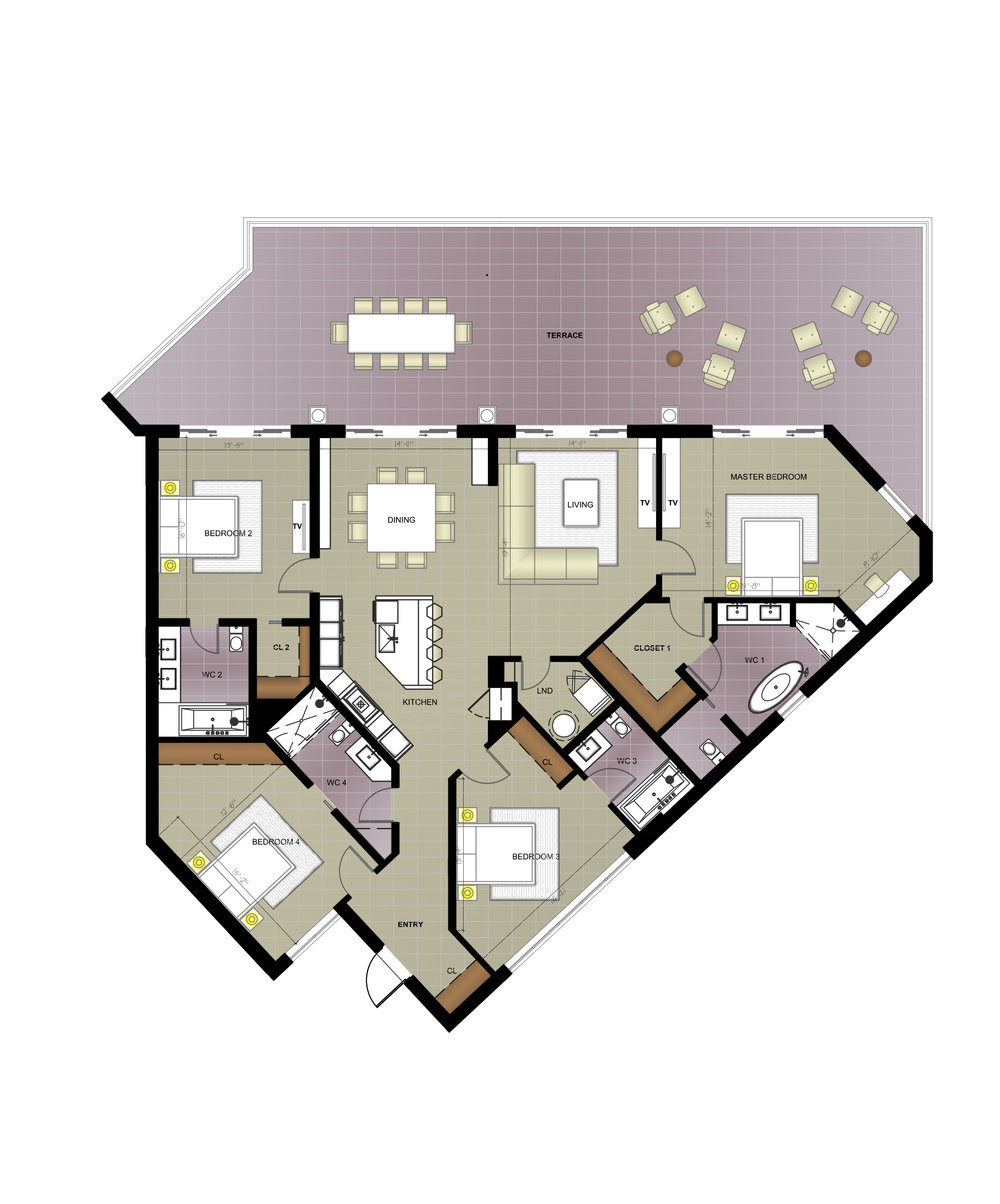 RESIDENCE #505/506 - 4 bed · 4 bath · 3570 SQ FTThis Residence includes a master suite with a walk in wardrobe and soaking tub, three ensuite bedrooms, entertainers kitchen with quartz counter-tops and stainless steel appliances, spacious lounge, guest bathroom, generous indoor/outdoor dining areas, and private balcony overlooking the ocean. The 3570 square foot unit also includes reserved underground parking and private cabana access.Listed at US$3,535,000