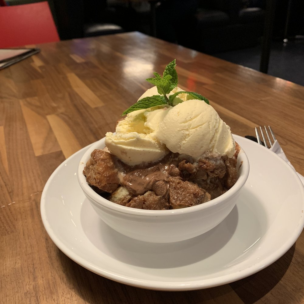 BOURBON CHOCOLATE BREAD PUDDING - Warmed and served with vanilla ice cream