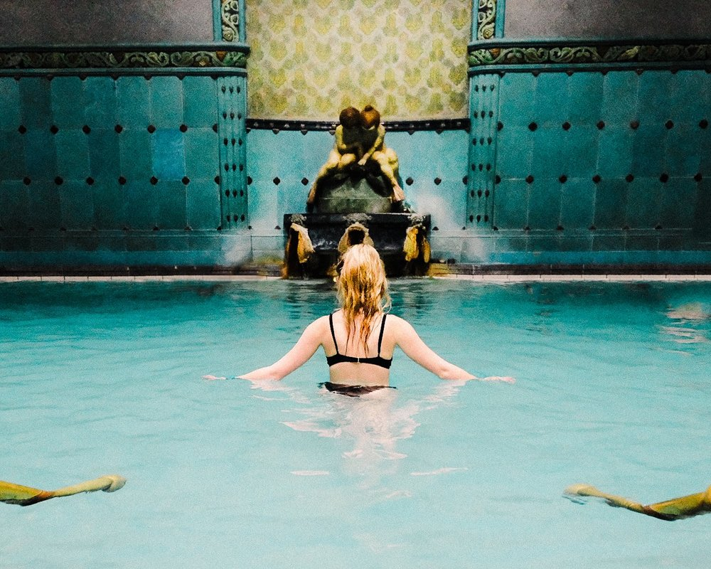 Escaping the frigid February air and taking a breather in the revitalizing Gellért baths.