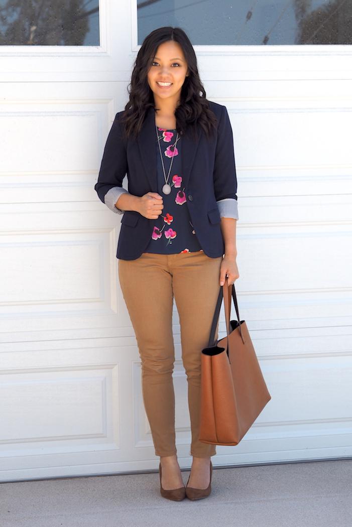 2015-09-03d floral top navy blazer khakis.JPG