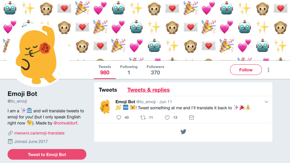 If you tweet at @to_emoji in English, the bot replies with your tweet translated into emoji.