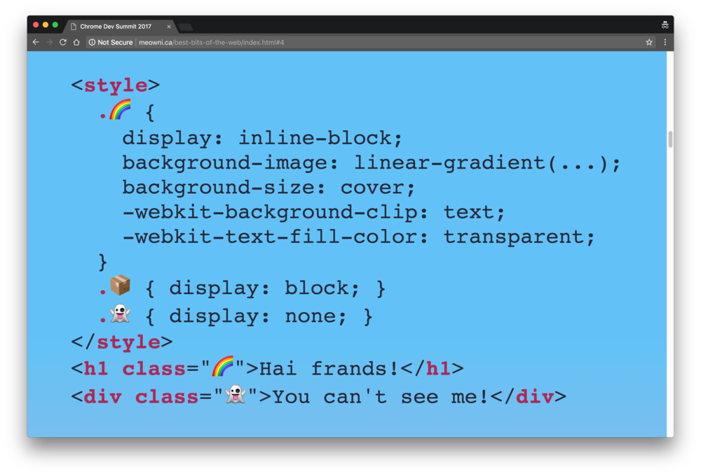 Emoji can be used for CSS class names. Demo code by @notwaldorf and @kosamari.