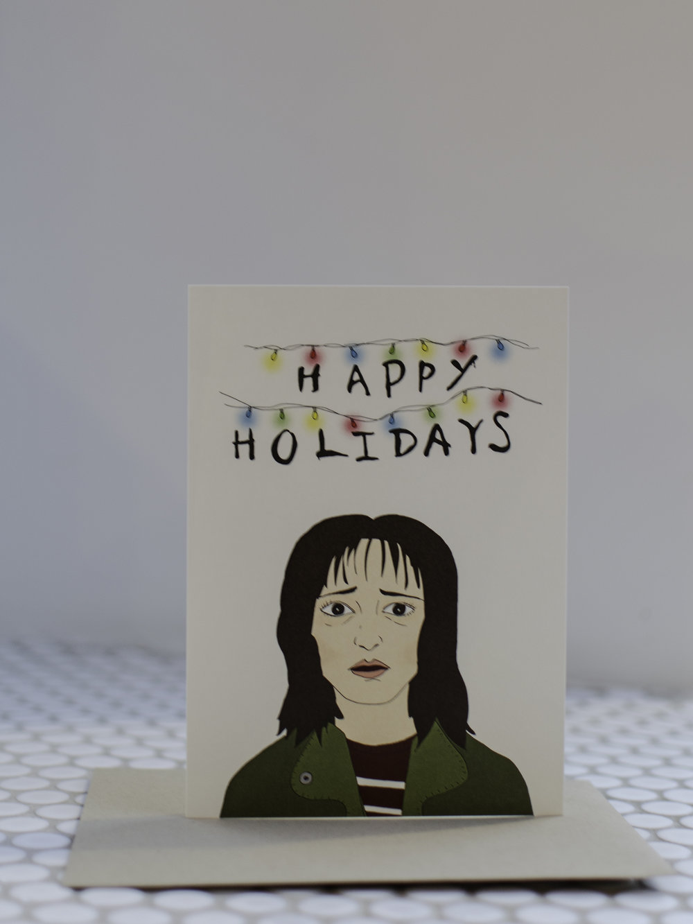 Stranger ThingsHoliday Card - I'm a late bloomer when it comes to getting into Stranger Things but I'm officially caught up and totally hooked! I'd give this card to any of my friends that I've gone into deep conversations about our theories with.
