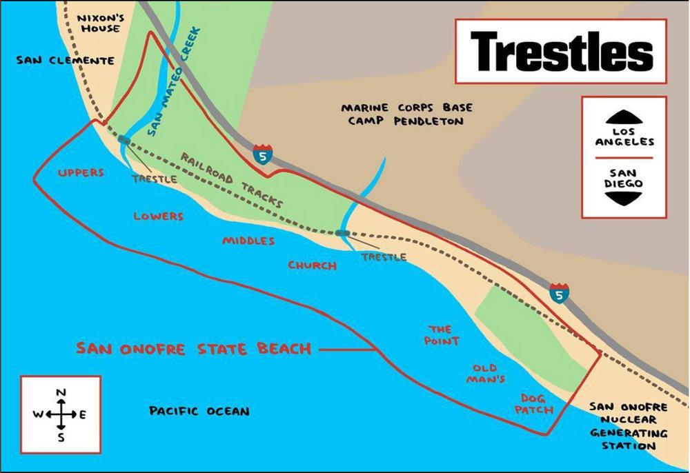 Observe que a área da Base Militar cobre sete praias do sul da Califórnia. Trestles é a segunda.