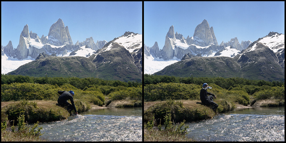 Hiker takes water break on hike to the Three Towers, Torres del Paine, Patagonia, 2012