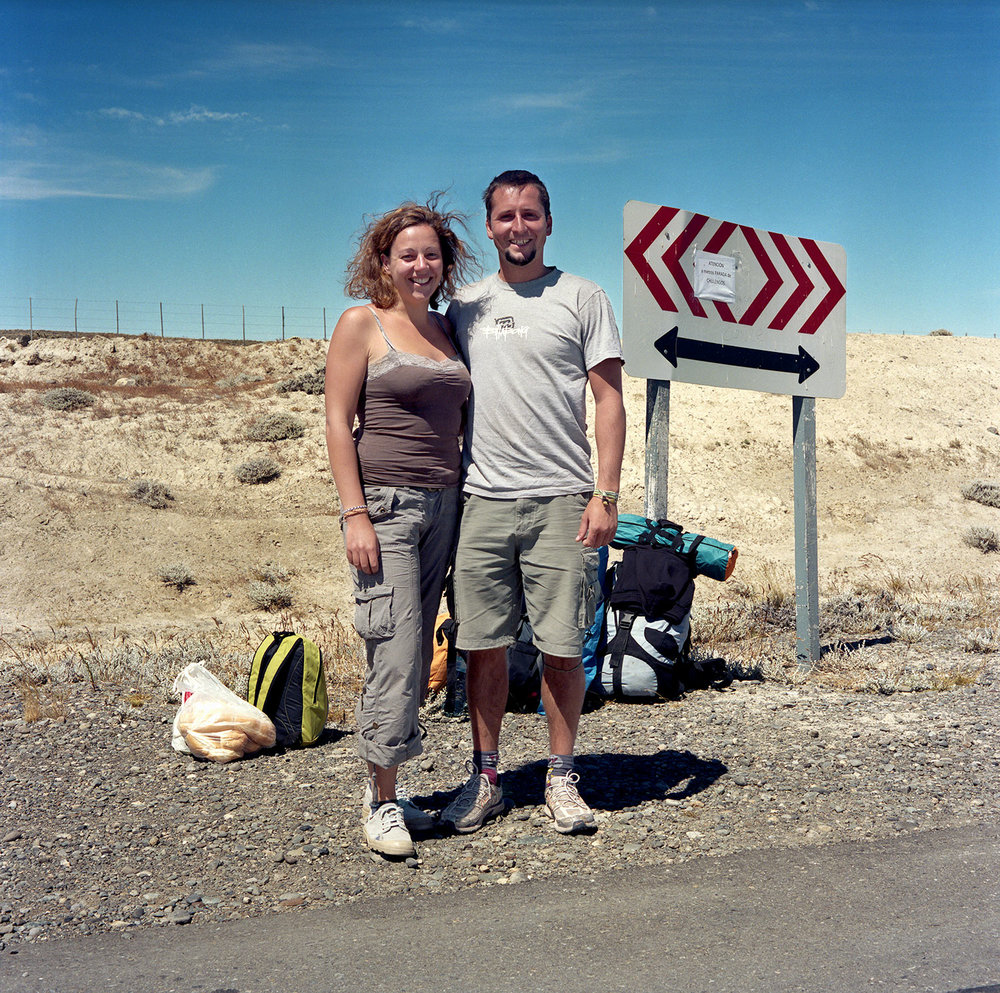 Two hitchhikers while en route to Argentina, Patagonia, 2012