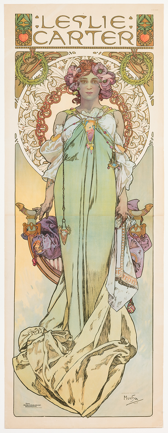 Alphonse Mucha  (Czech, 1860-1939)   Leslie Carter , 1908  Color lithograph  90 1/4 x 37 1/2 in.