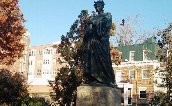 This is a statue of Dante (Alighieri) that exists, for some reason, at Malcolm X Park in DC. I mean, I'm not complaining; its a dope statue. But that park has a real weird mix of them.