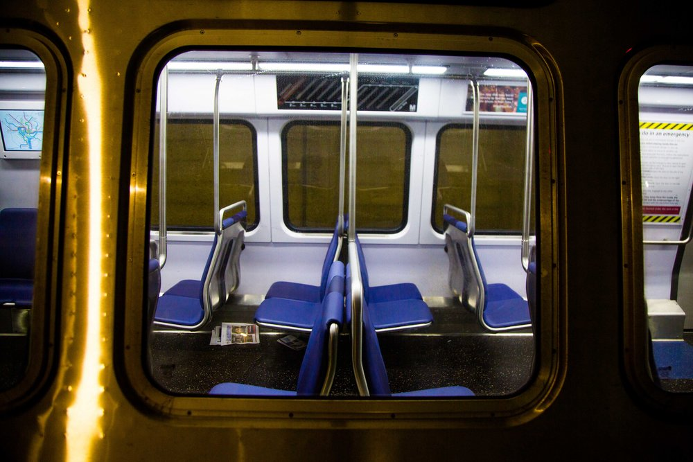 Inside a metro car at Glenmont Station, Maryland