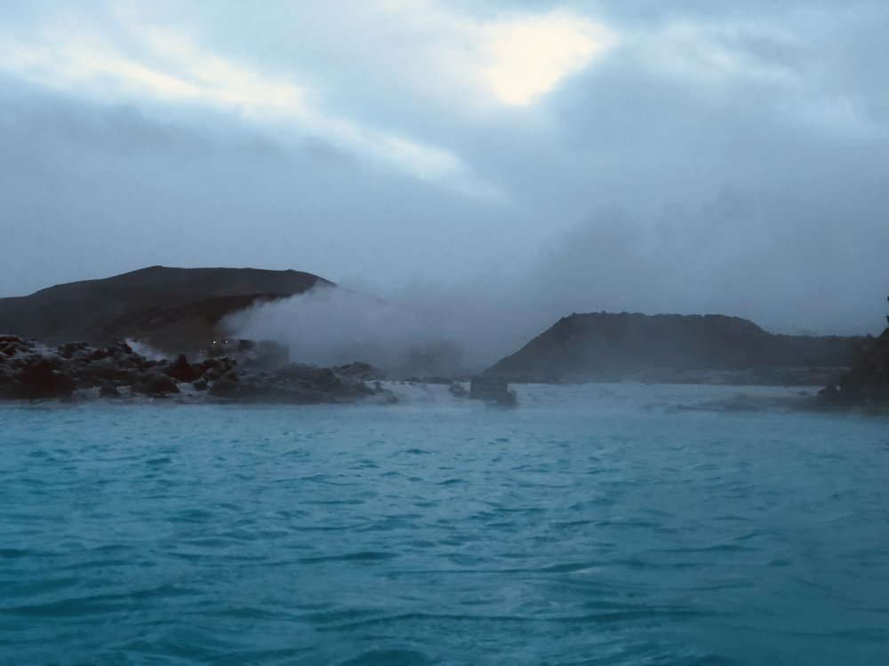 Sun rising over the Blue Lagoon, Iceland.
