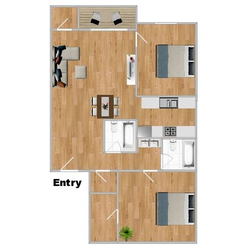 Unit 207 - 725 Sq. Ft2 Bedroom 2 Bath2nd Floor $1,150 / MonthRenovated, All new appliances$100 Application$600 Deposit