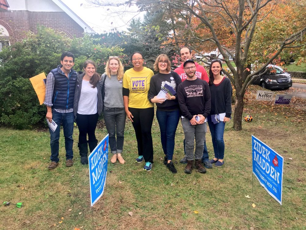 Moinca Taylor canvassing with MPF members in Upper Darby prior to the recent election on 11/7/17