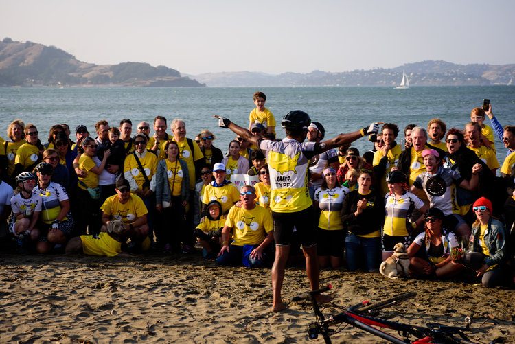 "Team Leader, Sid Sharma conducting all of the energy from the SF finish line into a cheer, ""When I say BikeBeyond, you say LIVEBEYOND!"" Boy oh boy was that loud... Photo credit: Lindsey Freitas"