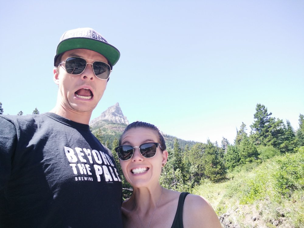 This picture was taken right before we saw a black bear on a hiking path in Waterton Lakes National Park. By the look on our faces, you'd swear it was right after.