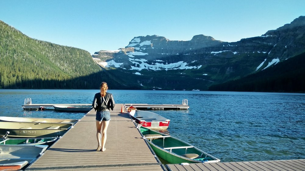 Beautiful Cameron Lake and its famous jumping dock!