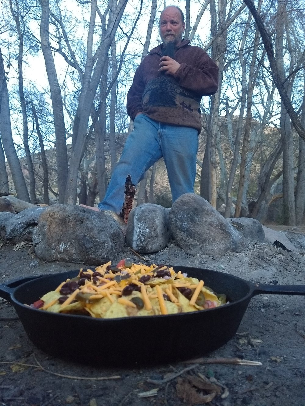 Our main man, Greg, patiently awaiting campfire nachos at Brock Canyon.