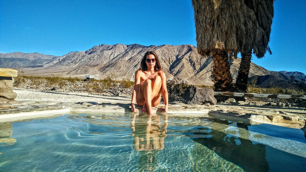 Hot springs in the hot California deserts of Death Valley.