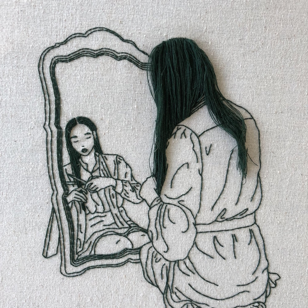 Girl in Front of Mirror, 12 x 12 inch, 2018