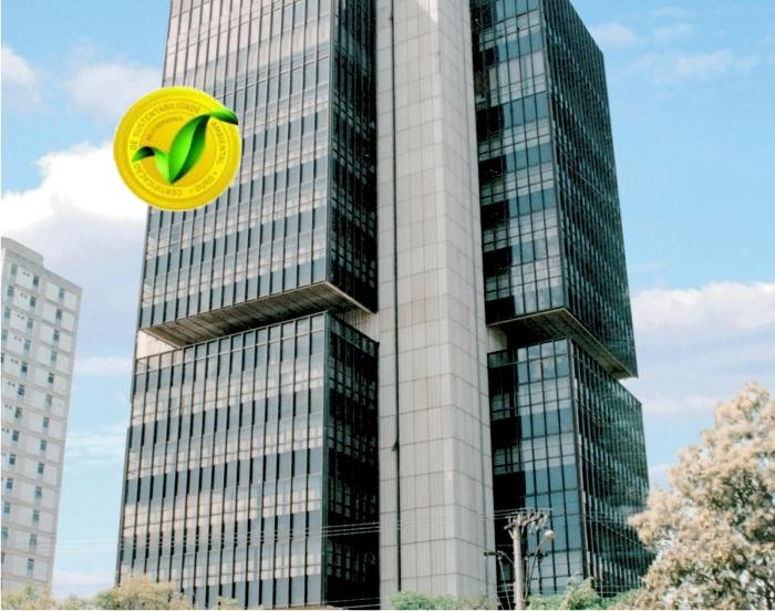 Edifício Sede Banco BDMG;Cliente: BDMG;Serviço: Plano de Gestão da Sustentabilidade eCertificação: Selo BH Sustentável categoria Ouro -