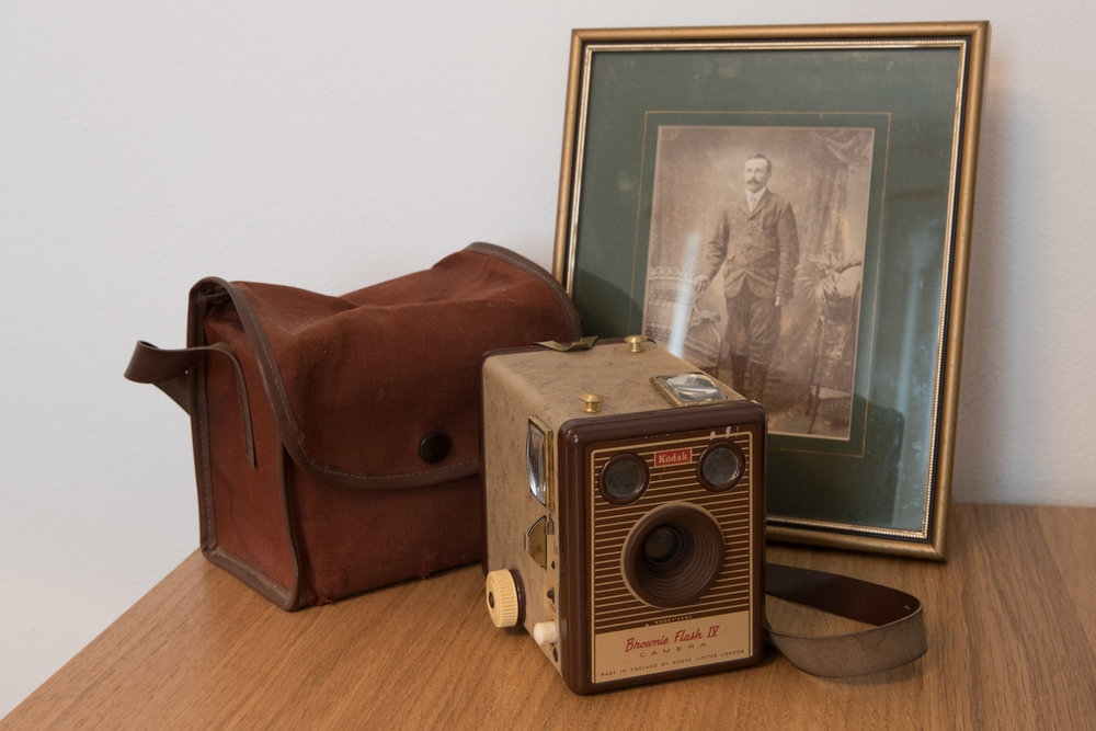 My Grandmother's Kodak Box Brownie and a photograph of my Great Grandfather on my Grandfathers side, Leyton 2017