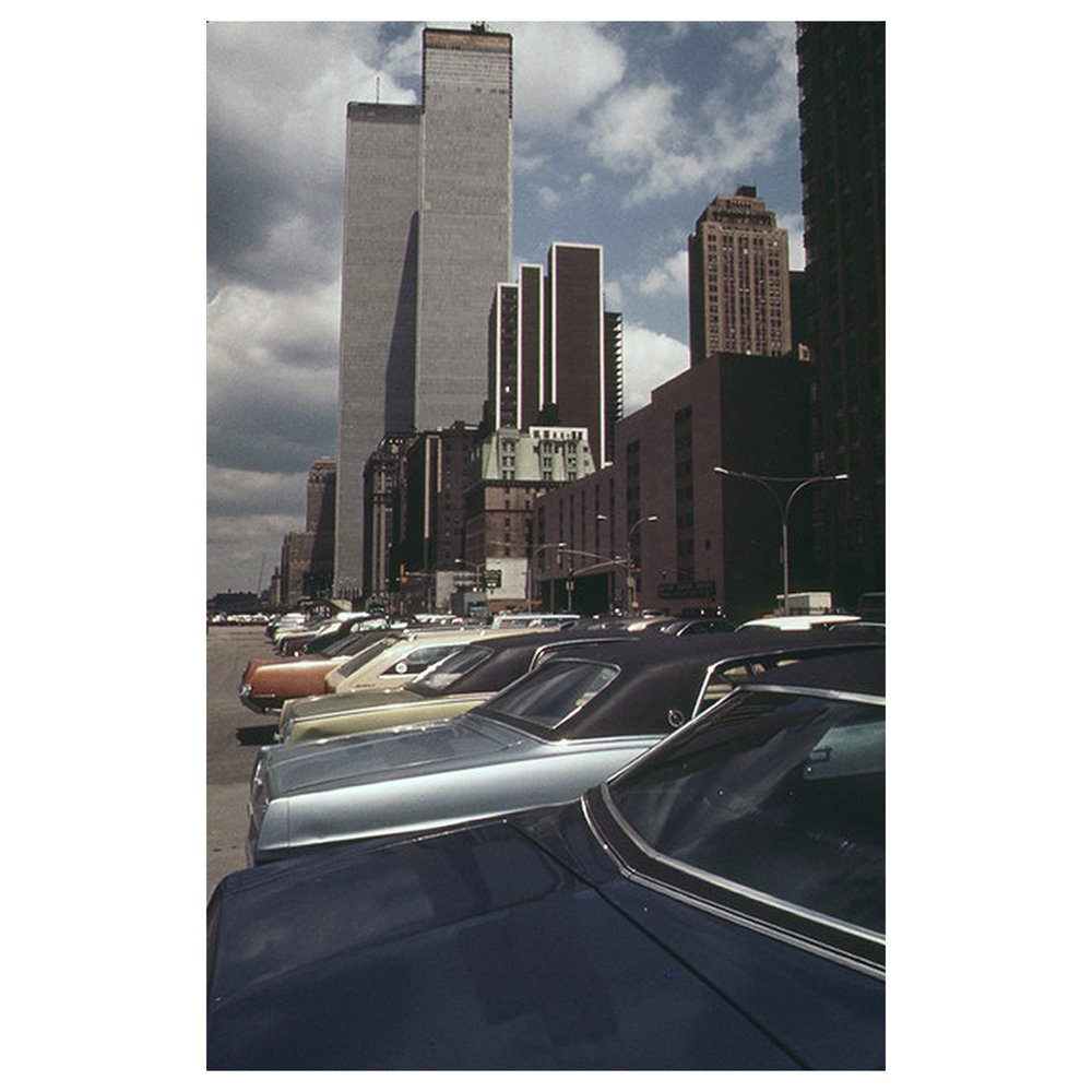 World Trade Centre, 1973, Found Image re coloured and reduced grain, Anthony Prothero 2017