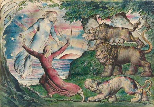 William Blake Dante running from the Three Beasts 1824–7 © National Gallery of Victoria, Melbourne, Australia