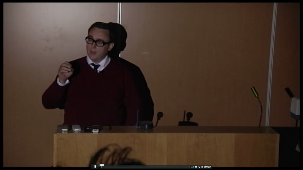 Screenshot from Damien Sutton Lecture at University College Falmouth, 2012