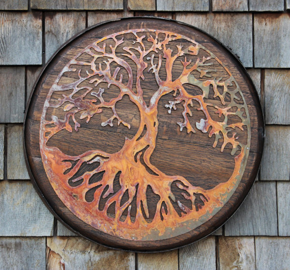 Tree of Life on Whiskey Barrel Head - $165