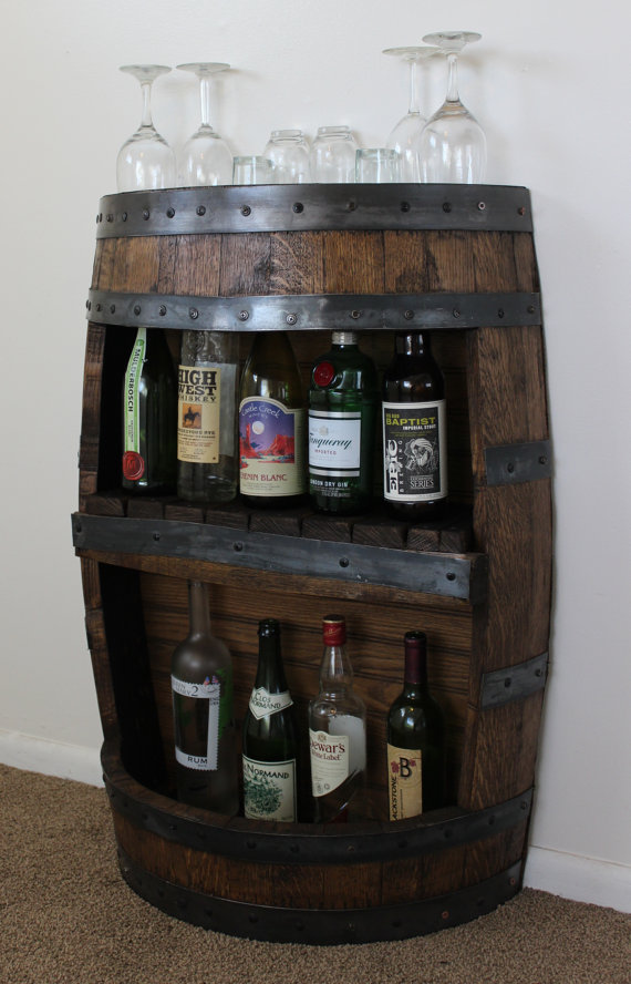 Whiskey Barrel Bar with Shelf - $395