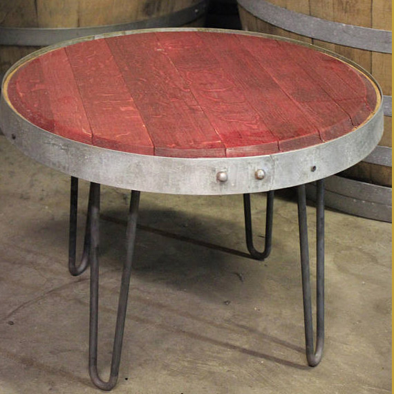 Wine Barrel Head Table $165