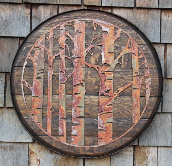 Rusted Metal Aspen Trees on Oak Whiskey Lid - $165