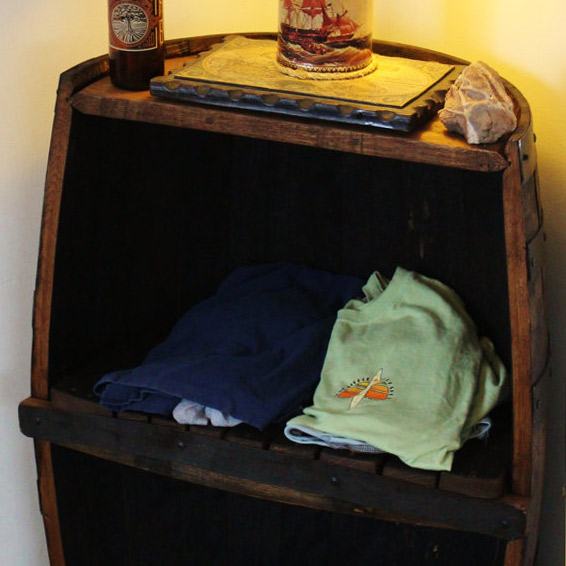 Whiskey Barrel Storage Shelf & Whiskey Barrel Bar Option - $299